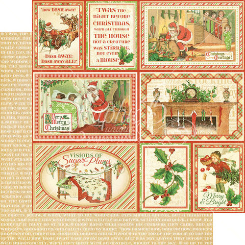 Graphic 45 - Twas the Night Before Christmas Collection - 12 x 12 Double Sided Paper - Long Winter's Nap