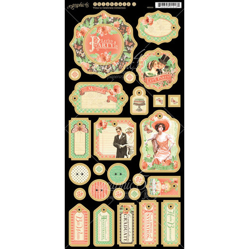 Graphic 45 - Time to Celebrate Collection - Die Cut Chipboard Tags