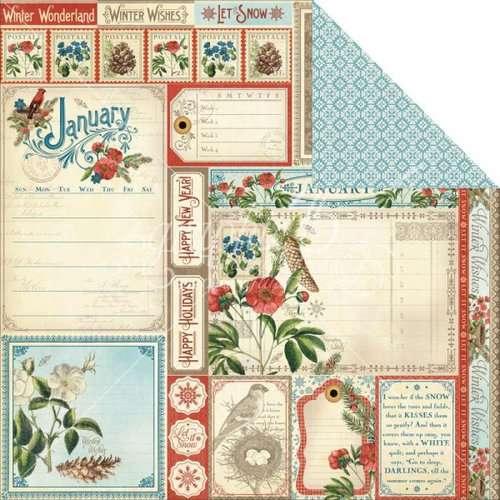Graphic 45 - Time to Flourish Collection - 12 x 12 Double Sided Paper - January Cut Apart