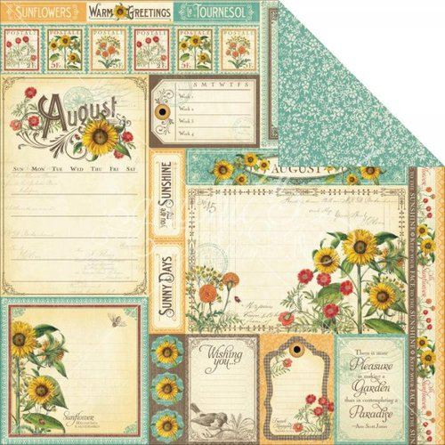Graphic 45 - Time to Flourish Collection - 12 x 12 Double Sided Paper - August Cut Apart