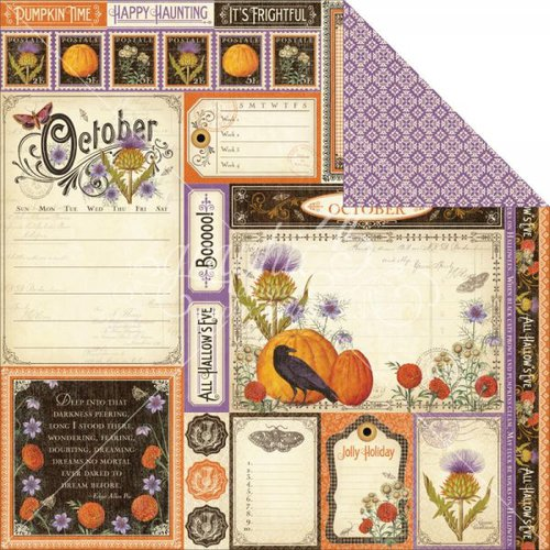 Graphic 45 - Time to Flourish Collection - 12 x 12 Double Sided Paper - October Cut Apart