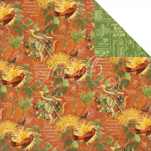 Graphic 45 - Time to Flourish Collection - 12 x 12 Double Sided Paper - November Flourish