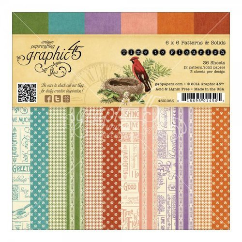 Graphic 45 - Time to Flourish Collection - 6 x 6 Patterns and Solids Paper Pad