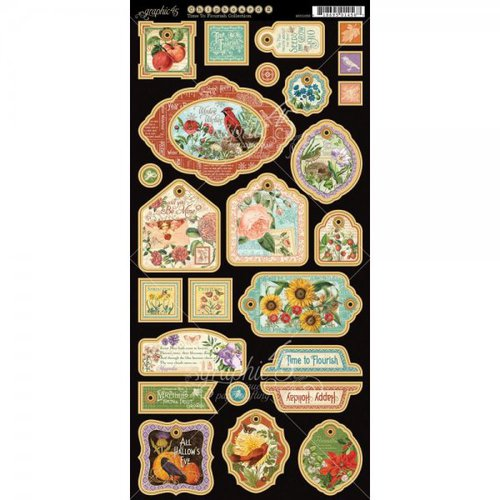 Graphic 45 - Time to Flourish Collection - Die Cut Chipboard Tags - One