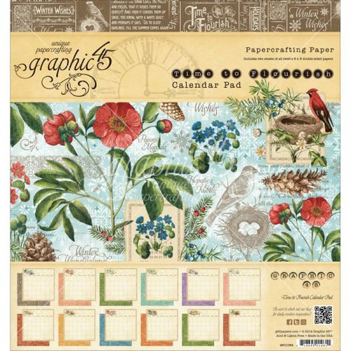 Graphic 45 - Time to Flourish Collection - 8 x 8 Calendar Pad