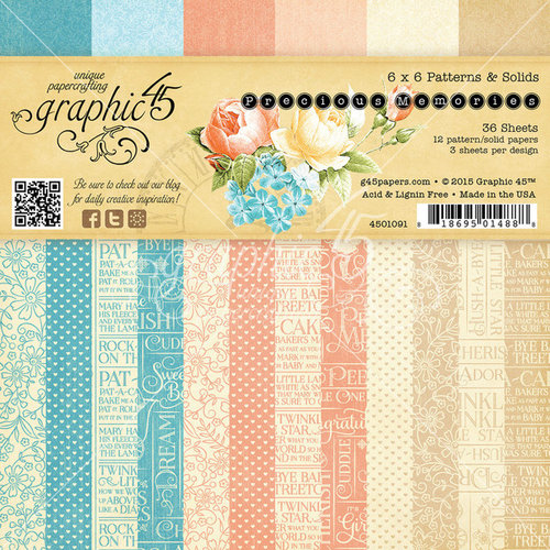 Graphic 45 - Precious Memories Collection - 6 x 6 Patterns and Solids Paper Pad