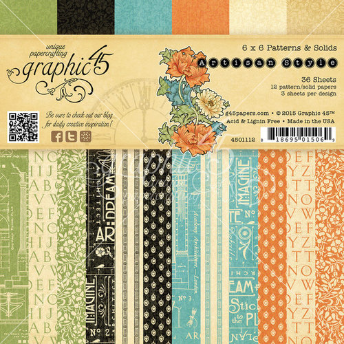 Graphic 45 - Artisan Style Collection - 6 x 6 Patterns and Solids Paper Pad