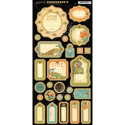 Graphic 45 - Artisan Style Collection - Die Cut Chipboard Tags - One