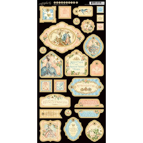 Graphic 45 - Gilded Lily Collection - Die Cut Chipboard Tags - Two