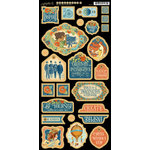 Graphic 45 - Worlds Fair Collection - Die Cut Chipboard Tags - One