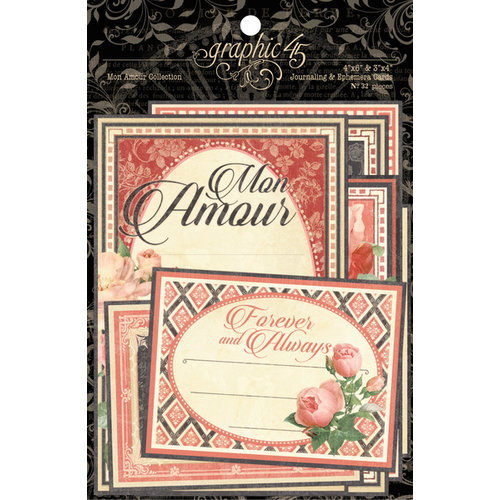 Graphic 45 - Mon Amour Collection - Journaling and Ephemera Cards