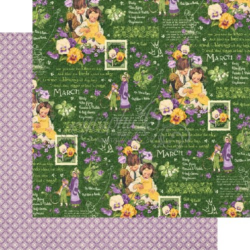 Graphic 45 - Childrens Hour Collection - 12 x 12 Double Sided Paper - March Montage