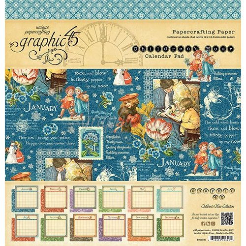 Graphic 45 - Childrens Hour Collection - 12 x 12 Paper Pad - Calendar