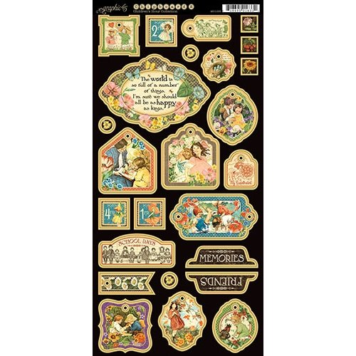 Graphic 45 - Childrens Hour Collection - Die Cut Chipboard Tags - Two