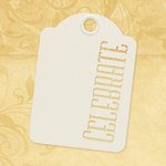 Graphic 45 - Staples Collection - Stencil-Cut Gift Tags - ATC - Celebrate - Ivory