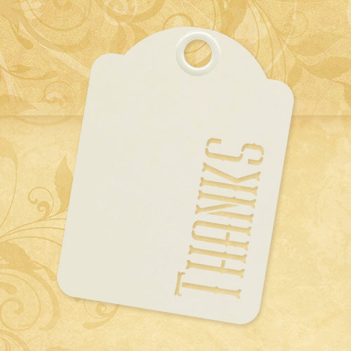 Graphic 45 - Staples Collection - Stencil-Cut Gift Tags - ATC - Thanks - Ivory