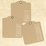 Graphic 45 - Staples Collection - Square Stencil-Cut Gift Tags - Cheers, Party, Celebrate - Kraft