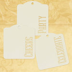 Graphic 45 - Staples Collection - Square Stencil-Cut Gift Tags - Cheers, Party, Celebrate - Ivory