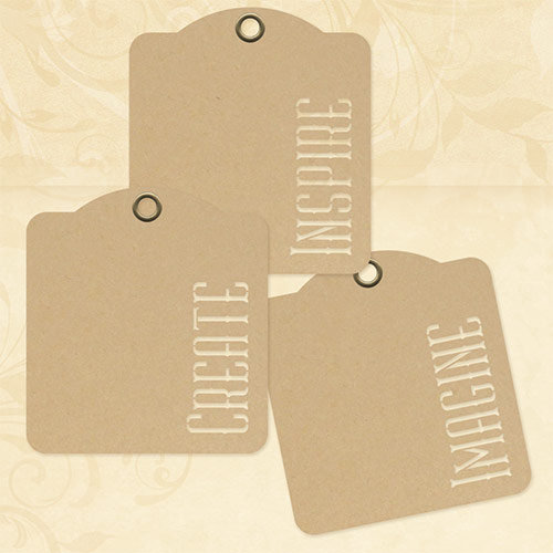 Graphic 45 - Staples Collection - Square Stencil-Cut Gift Tags - Inspire, Create, Imagine - Kraft