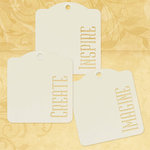 Graphic 45 - Staples Collection - Square Stencil-Cut Gift Tags - Inspire, Create, Imagine - Ivory