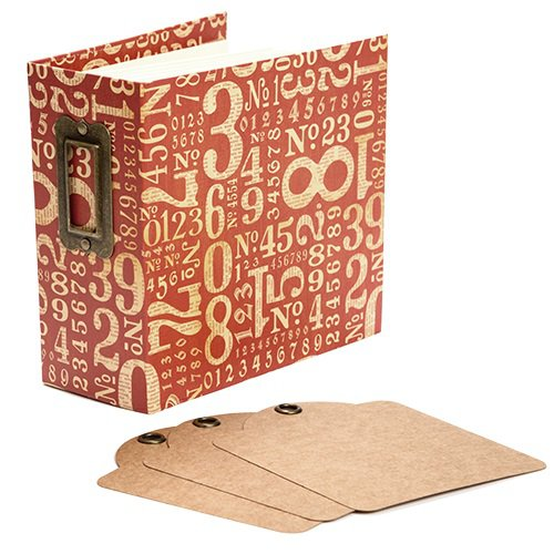 Graphic 45 - Staples Collection - Square Tag and Pocket Album - Red Numbers
