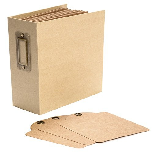 Graphic 45 - Staples Collection - Square Tag and Pocket Album - Kraft