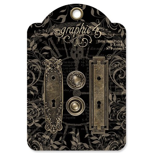Graphic 45 - Staples Collection - Metal Door Plates and Knobs