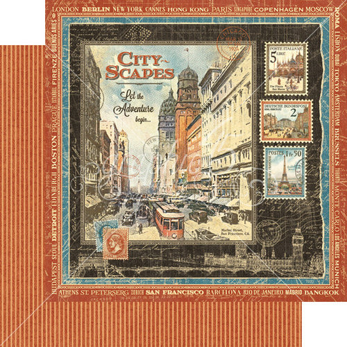 Graphic 45 - Cityscapes Collection - 12 x 12 Double Sided Paper - Cityscapes