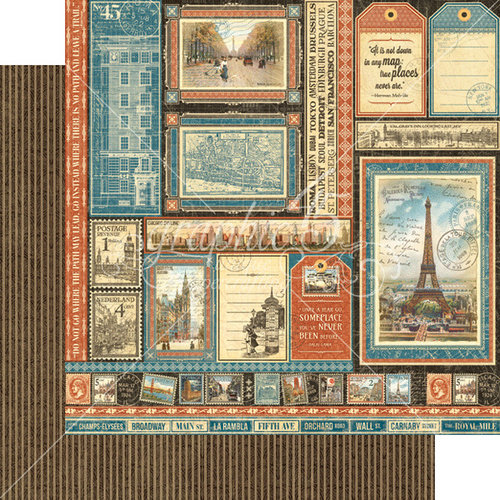 Graphic 45 - Cityscapes Collection - 12 x 12 Double Sided Paper - Global Odyssey