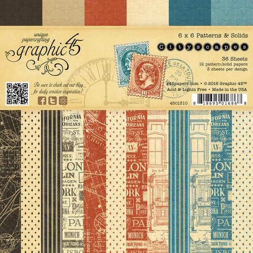 Graphic 45 - Cityscapes Collection - 6 x 6 Patterns and Solids Paper Pad