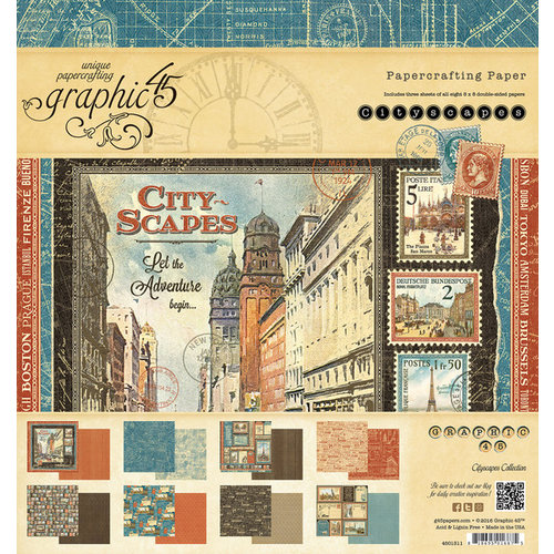 Graphic 45 - Cityscapes Collection - 8 x 8 Paper Pad