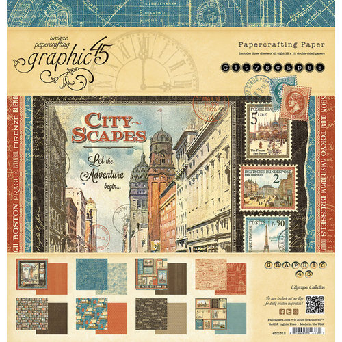 Graphic 45 - Cityscapes Collection - 12 x 12 Paper Pad