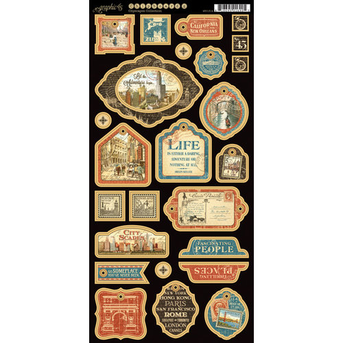 Graphic 45 - Cityscapes Collection - Die Cut Chipboard Tags - One