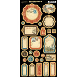 Graphic 45 - Cityscapes Collection - Die Cut Chipboard Tags - Two