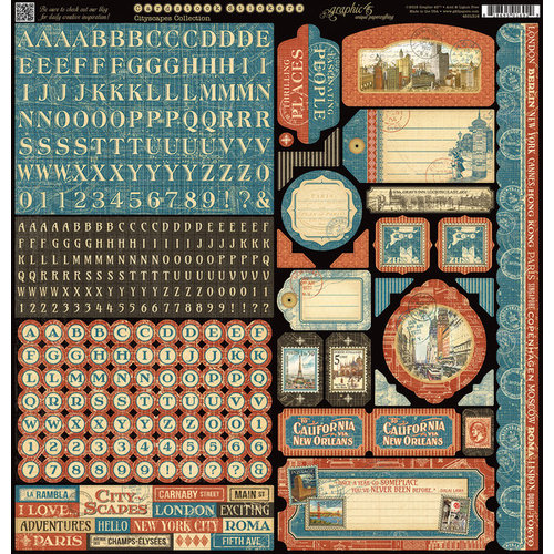 Graphic 45 - Cityscapes Collection - 12 x 12 Cardstock Stickers