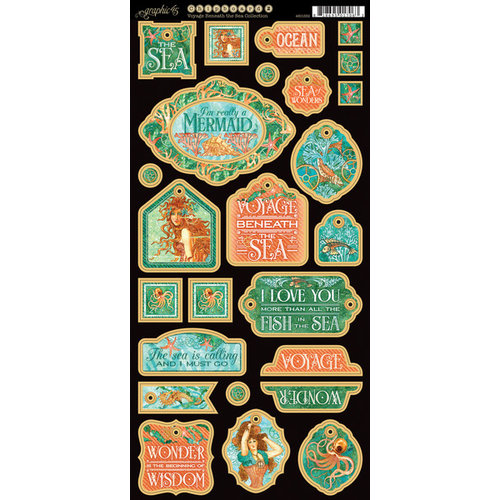Graphic 45 - Voyage Beneath the Sea Collection - Die Cut Chipboard Tags - One