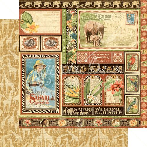 Graphic 45 - Safari Adventure Collection - 12 x 12 Double Sided Paper - Amazing Africa