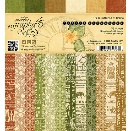 Graphic 45 - Safari Adventure Collection - 6 x 6 Patterns and Solids Paper Pad