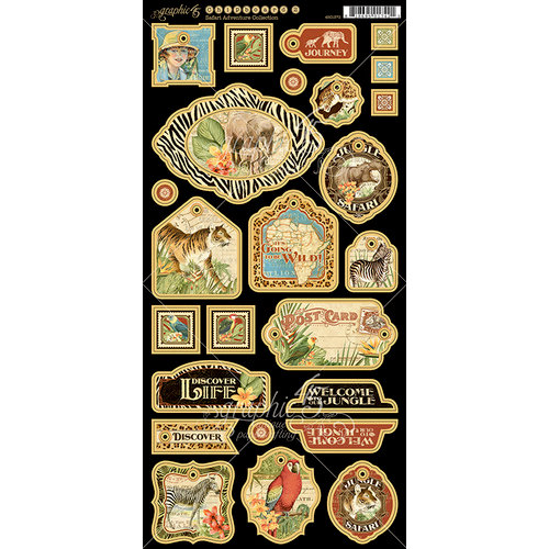 Graphic 45 - Safari Adventure Collection - Die Cut Chipboard Tags - One