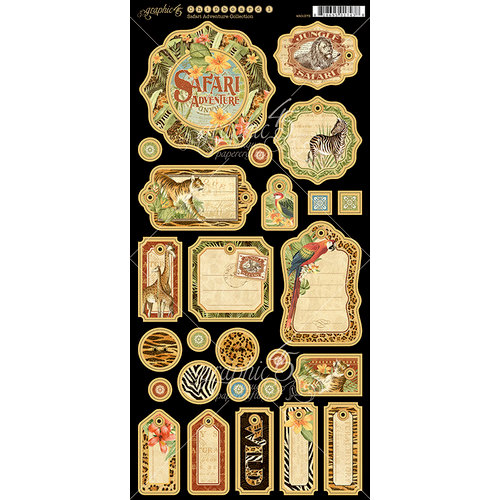 Graphic 45 - Safari Adventure Collection - Die Cut Chipboard Tags - Two