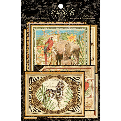 Graphic 45 - Safari Adventure Collection - Ephemera Cards