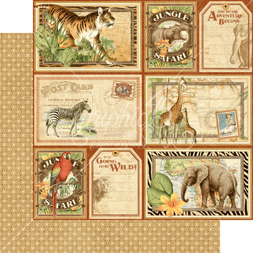 Graphic 45 - Safari Adventure Collection - 12 x 12 Double Sided Paper - Jungle Expedition