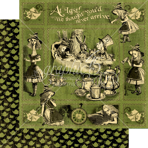 Graphic 45 - Halloween in Wonderland Collection - 12 x 12 Double Sided Paper - Alice's Tea Party