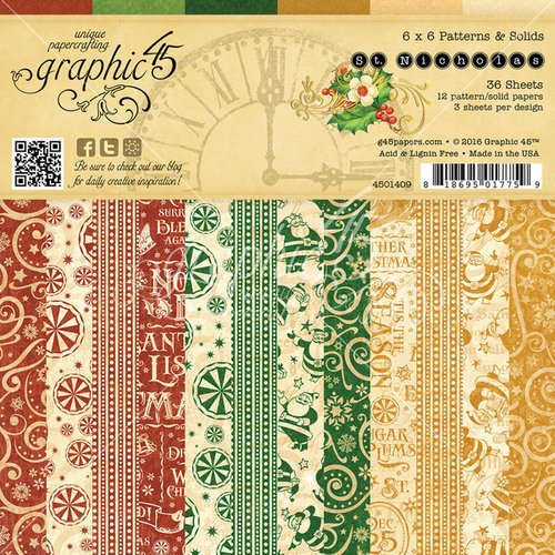 Graphic 45 - St Nicholas Collection - Christmas - 6 x 6 Patterns and Solids Paper Pad