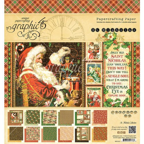 Graphic 45 - St Nicholas Collection - Christmas - 8 x 8 Paper Pad