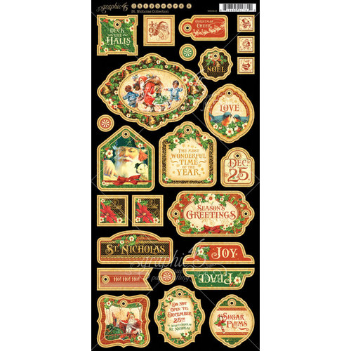 Graphic 45 - St Nicholas Collection - Christmas - Die Cut Chipboard Tags - One