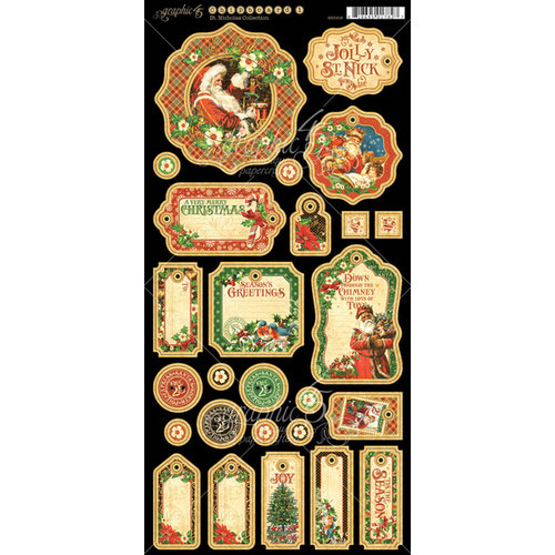 Graphic 45 - St Nicholas Collection - Christmas - Die Cut Chipboard Tags - Two
