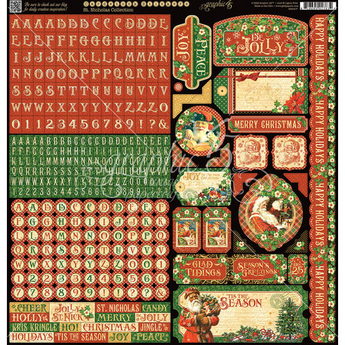 Graphic 45 - St Nicholas Collection - Christmas - 12 x 12 Cardstock Stickers