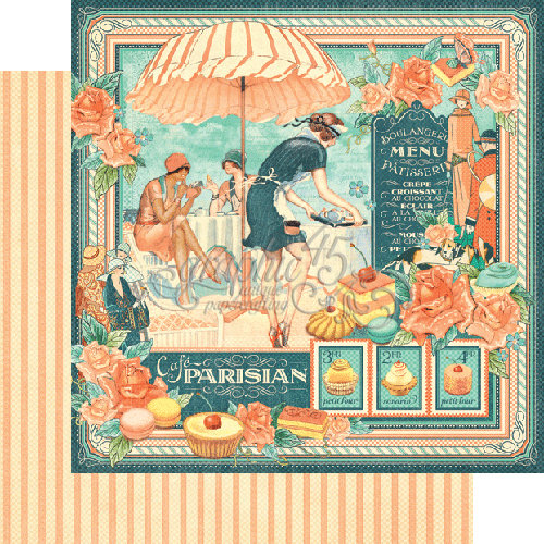 Graphic 45 - Cafe Parisian Collection - 12 x 12 Double Sided Paper - Cafe Parisian