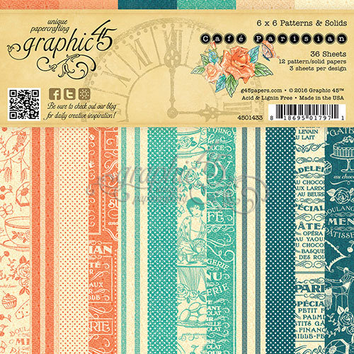 Graphic 45 - Cafe Parisian Collection - 6 x 6 Patterns and Solids Paper Pad